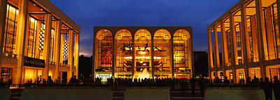 Lincoln Center Photograph - Entertainment Building Lit Up At Night by Panoramic Images