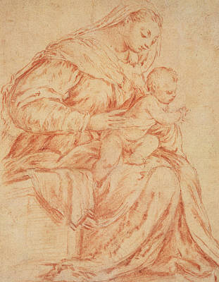 Mannerism Pastel - Enthroned Madonna And Child by Jacopo Bassano