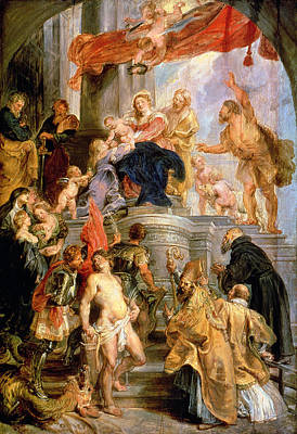 Enthroned Madonna With Child Encircled By Saints Print by Rubens