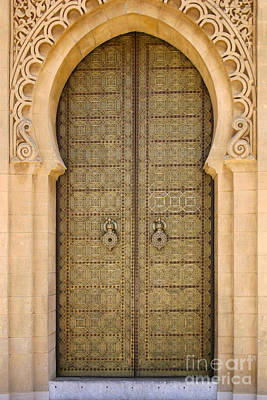Entrance Door To The Mausoleum Mohammed V Rabat Morocco Print by Ralph A  Ledergerber-Photography