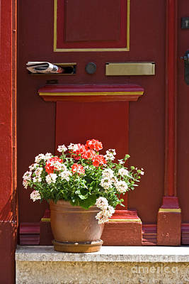 Entrance Door With Flowers Print by Heiko Koehrer-Wagner