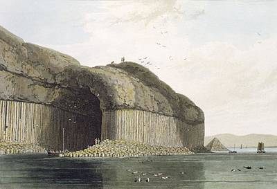 Scottish Drawing - Entrance To Fingals Cave, Staffa by William Daniell