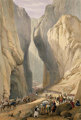 Mountain Drawing - Entrance To The Bolan Pass From Dadur by James Atkinson
