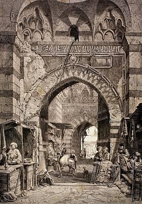 Entrance To The Khan El-khalili Souk In Cairo, In The 19th Century, From El Mundo Ilustrado Print by European School