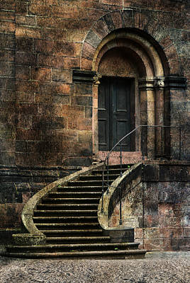 Stone Buildings Photograph - Entrance To The Old Brick Building And Curved Stairs by Jaroslaw Blaminsky