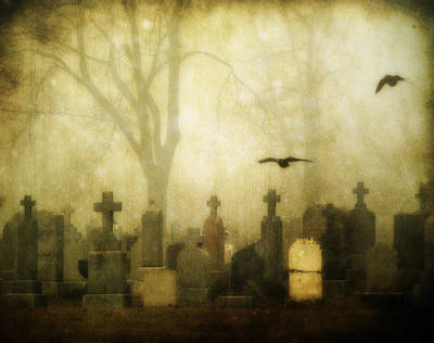 Ravens In Graveyard Photograph - Enveloped By Fog by Gothicrow Images