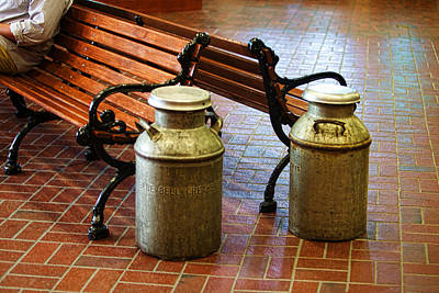Wooden Bench With Milk Cans Print by Linda Phelps