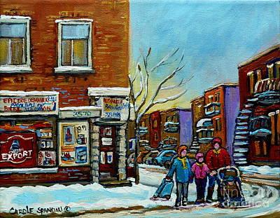 Montreal Winter Scenes Painting - Epicerie Depanneur Beaulieu Montreal by Carole Spandau