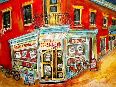 Bicycle Cornerstore Painting - Epicerie Depanneur  by Michael Litvack