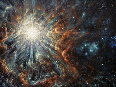 Nebula Painting - Epiphany In Light by Lucy West