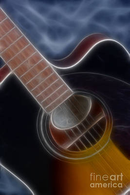 Epiphone Guitar Photograph - Epiphone Acoustic-9481-fractal by Gary Gingrich Galleries
