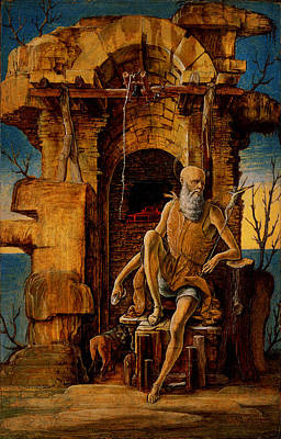 Religious Art Painting - Ercole De Roberti - Saint Jerome In The Wilderness by MotionAge Designs