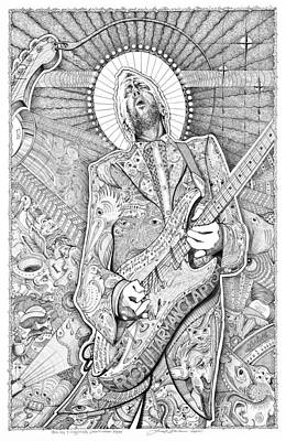 Eric Clapton Drawing - Eric Guitar God Clapton by Lance Graves
