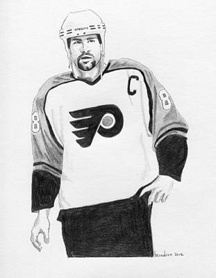 Philadelphia Flyers Drawing - Eric Lindros by Brian Condron