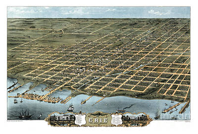 Vintage Map Painting - Erie - Pennsylvania - 1870 by Pablo Romero