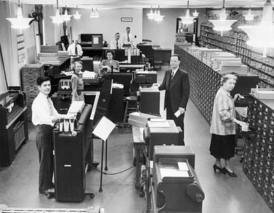Erie Railroad Ibm Machine Room Print by Underwood Archives