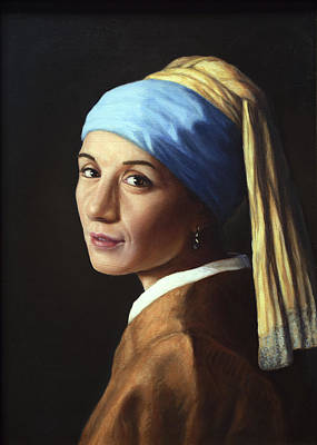 Earrings Painting - Erika With A Pearl Earring by James W Johnson