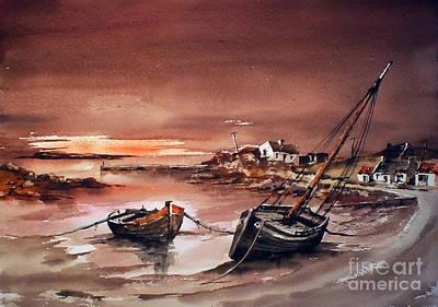 Erlak Sunset Galway Print by Val Byrne