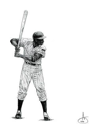 Chicago Baseball Drawing - Ernie Banks by Joshua Sooter