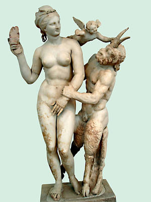 Aphrodite, Pan And Eros Print by Ellen Henneke