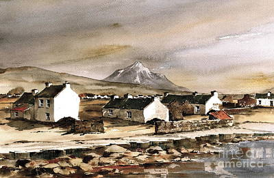 Errigal From Gola Island Donegal Print by Val Byrne