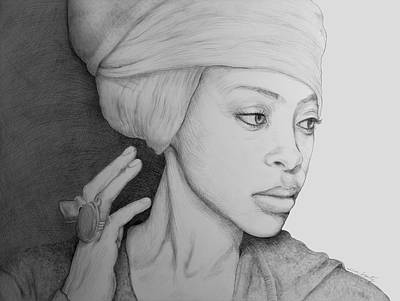 Rhythm And Blues Drawing - Erykah Badu Graphite On Museum Panel by Tim Fogarty