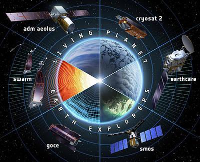 Esa Earth Explorer Satellites Print by European Space Agency