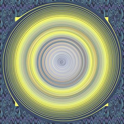 Eternally Digital Art - Eternity Swirl On Yellow And Purple And Blue by Helena Tiainen