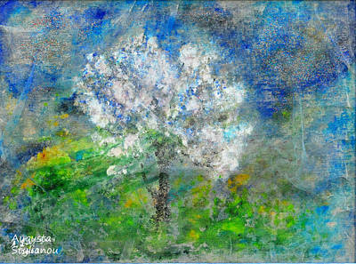 Fantasy Tree Art Painting - Ethereal Almond Tree by Augusta Stylianou