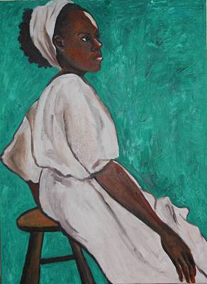 Ethiopian Woman In Green Print by Esther Newman-Cohen