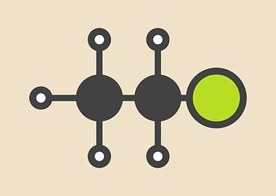 Ethyl Chloride Molecule Print by Molekuul