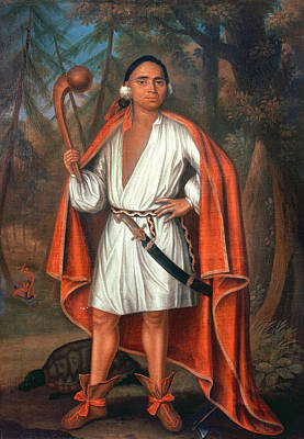 Etow Oh Koam, King Of The River Nations, 1710 Oil On Canvas Print by Johannes or Jan Verelst