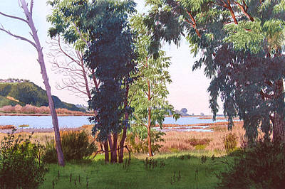 Carlsbad Painting - Eucalyptus Trees At Batiquitos Lagoon by Mary Helmreich