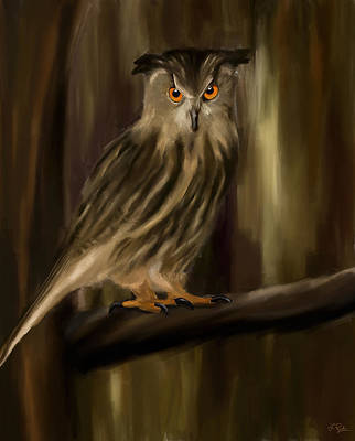 Olive Wood Painting - Eurasian Owl Look by Lourry Legarde