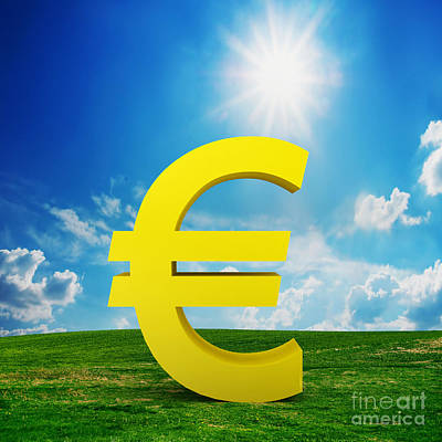 Green Photograph - Euro Currency Model On The Field by Michal Bednarek