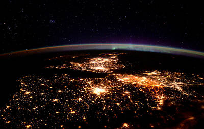 Print featuring the photograph Europe At Night, Satellite View by Science Source
