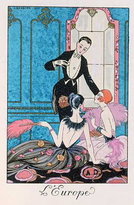 Conversing Painting - 'europe' Illustration For A Calendar For 1921 by Georges Barbier