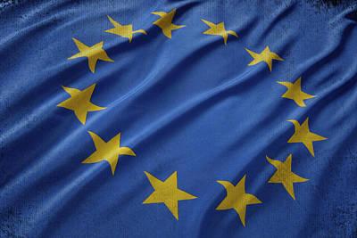 Waving Flag Mixed Media - European Union Flag Waving On Aged Canvas by Eti Reid