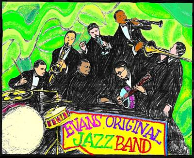 Saxophone Drawing - Evans Original Jazz Band by Mel Thompson