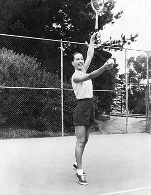 Evelyn Frey Playing Tennis Print by Bill Young