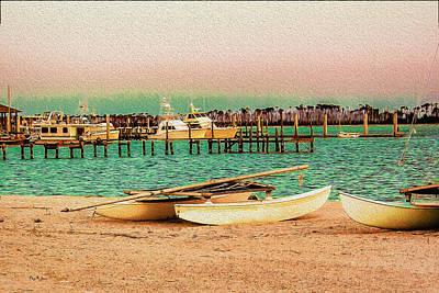 Coastal - Boats - Evening At The Beach Print by Barry Jones