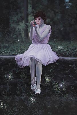 Girl With A Pink Dress Painting - Evening At The Edge Of The Garden by Paul Bond
