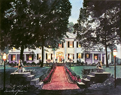 Lightpost Painting - Evening At The Governor's Mansion by David Lloyd Glover