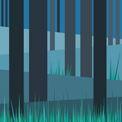 Minimalist Landscape Digital Art - Evening Blues - Abstract Trees by Val Arie