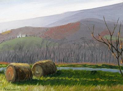 Bales Painting - Evening Comes To Penns Valley by Barb Pennypacker