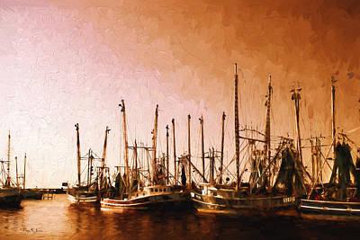 Digital Photograph - Shrimp Boats - Dock - Coastal - Evening Dockside by Barry Jones