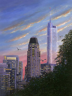 Chicago Skyline Painting - Evening Flight by Doug Kreuger
