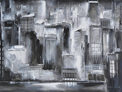 Chicago Cubs Painting - Evening In Chicago - Black And White Painting by Kathleen Patrick