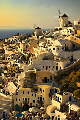 evening in Oia Print by Meirion Matthias