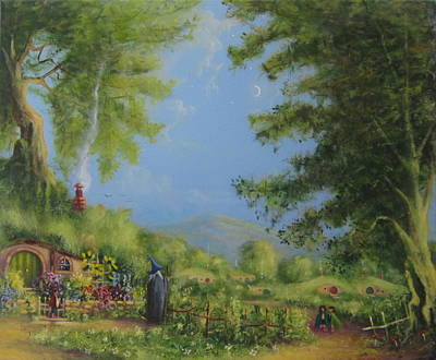 Lotr Painting - Evening In The Shire. by Joe  Gilronan